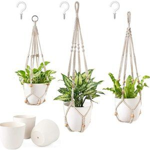 6 Pcs UO Cotton Woven Plastic Pot Hanging for Wall